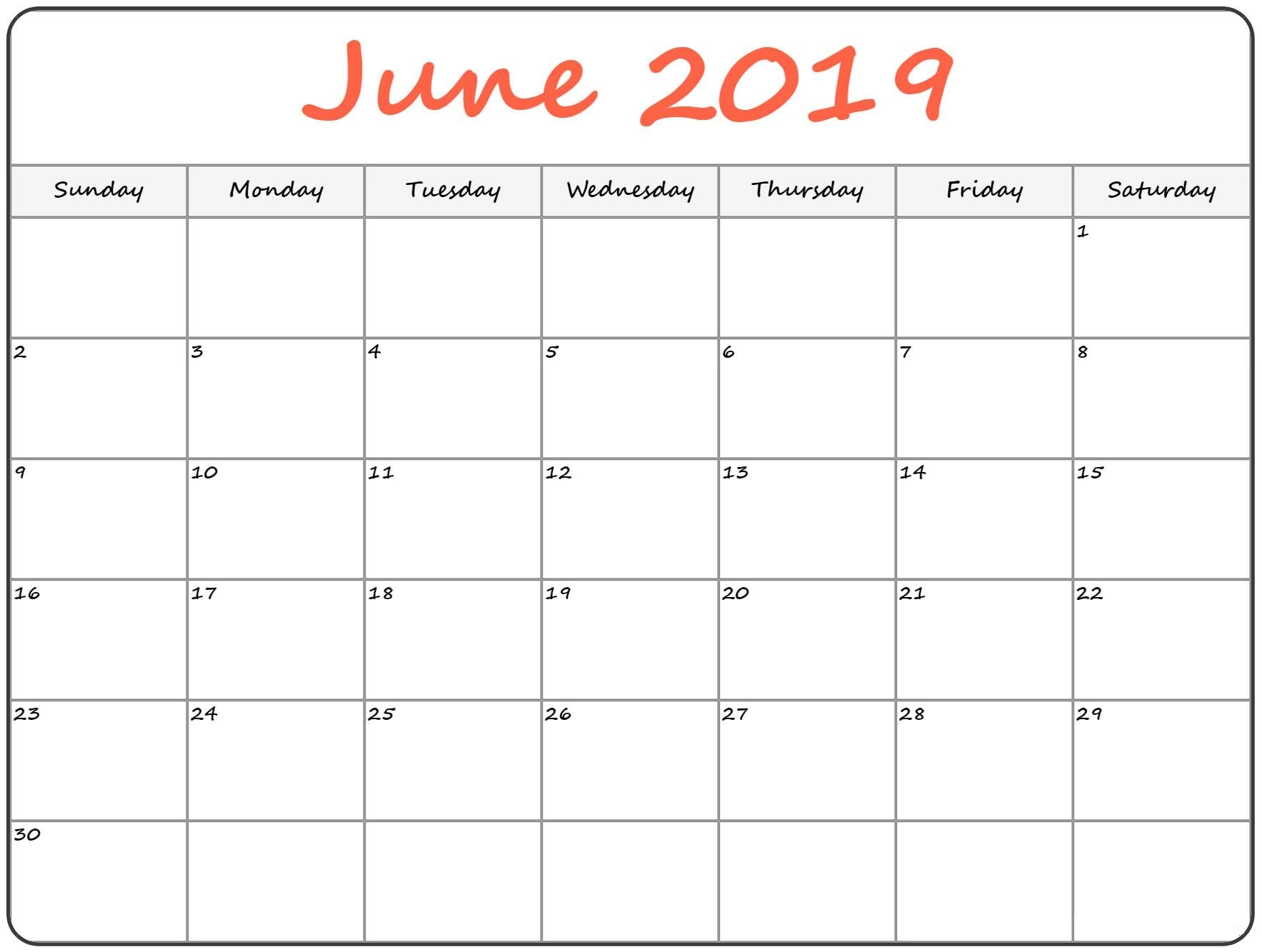 Printable Calendar For June 2019