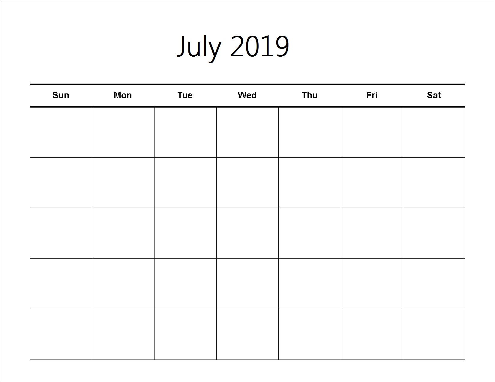 Printable Calendar of July 2019