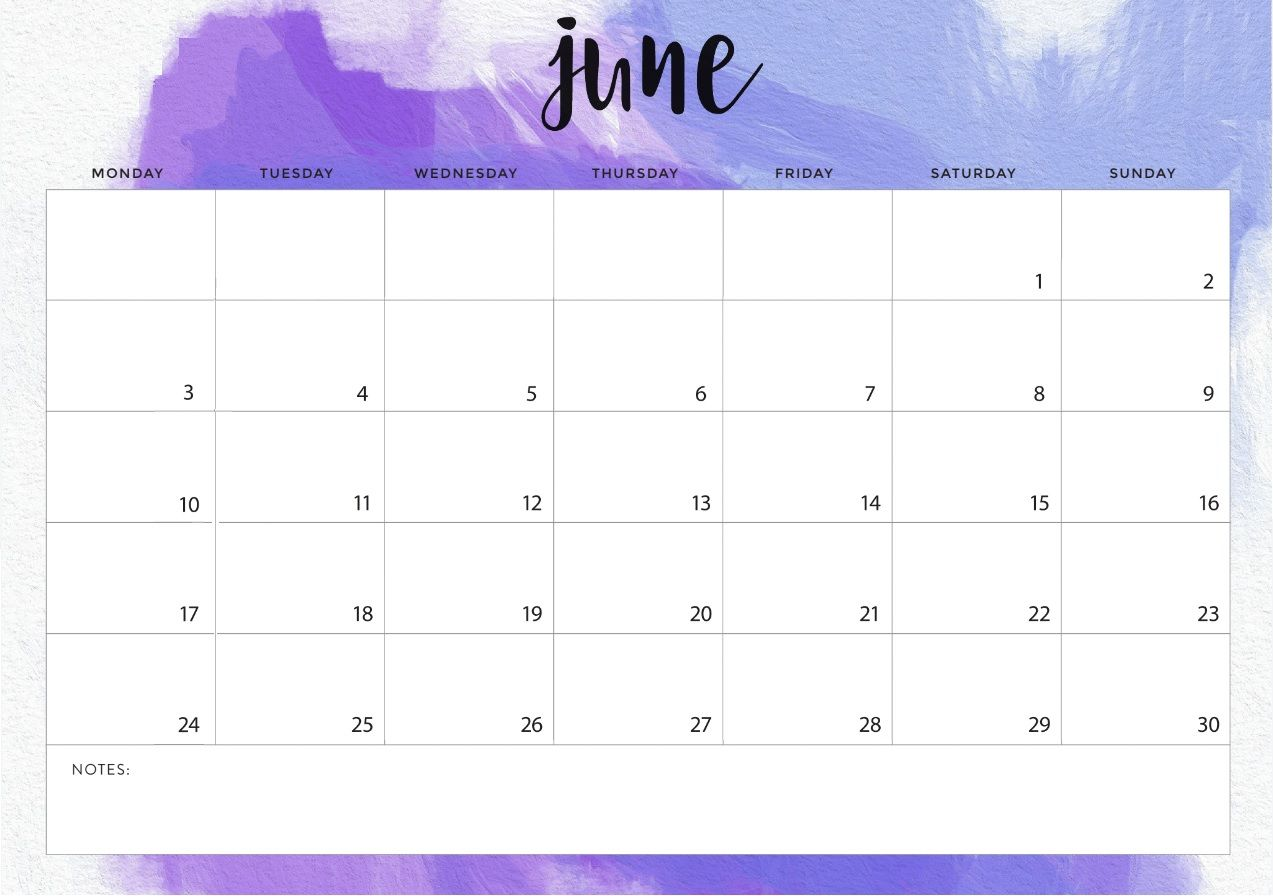 Printable June 2019 Monthly Wall Calendar