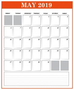 Printable May 2019 Desk Calendar Design