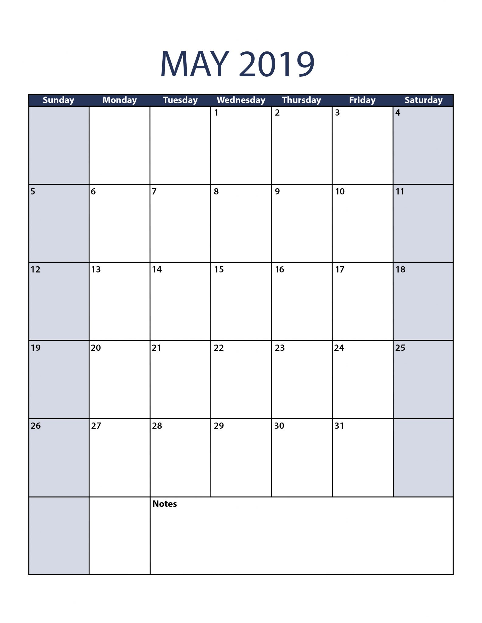 Printable May 2019 Portrait Calendar