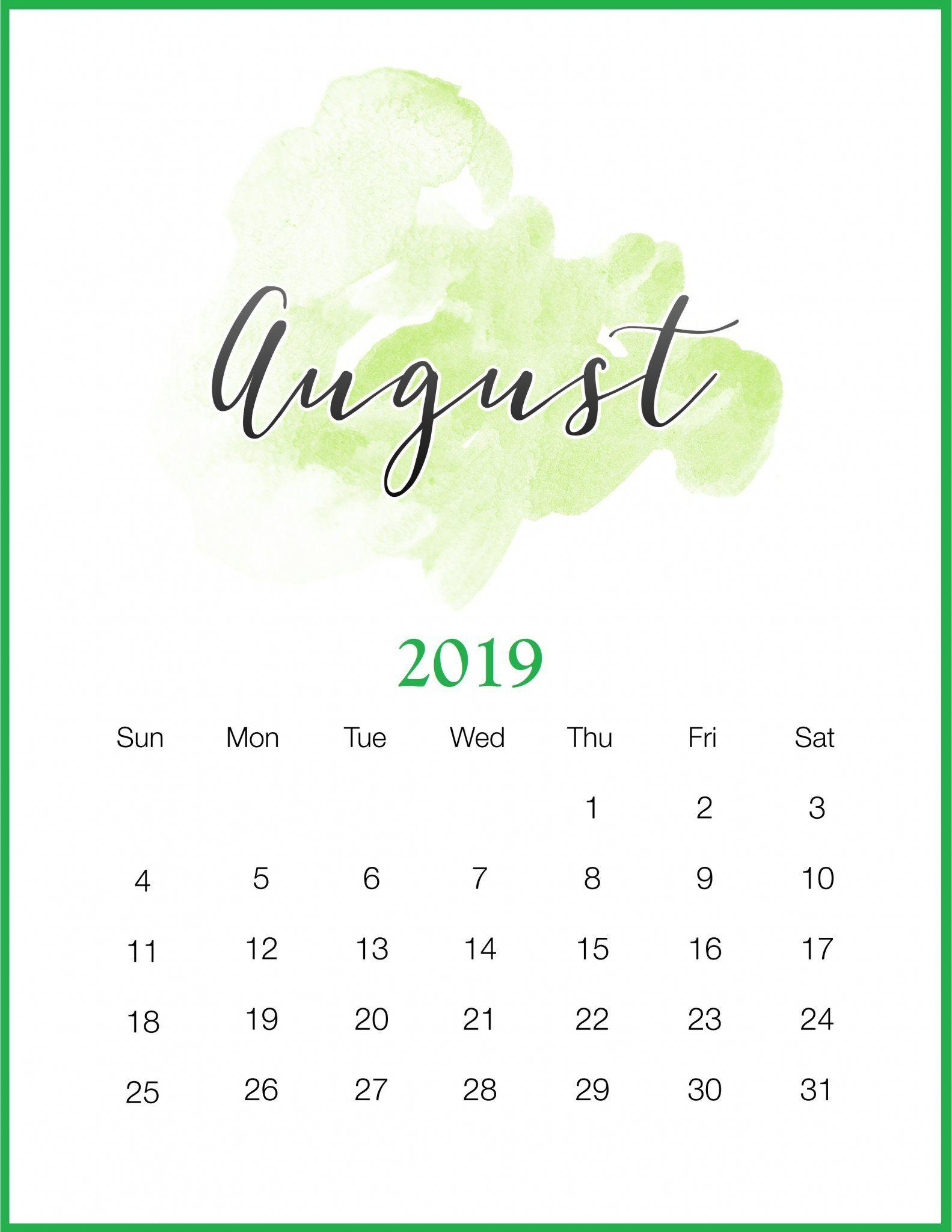 Watercolor August 2019 Printable Calendar