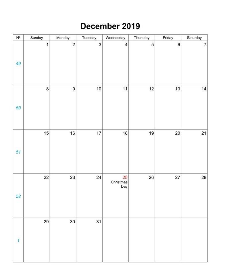 december 2019 blank calendar vertical
