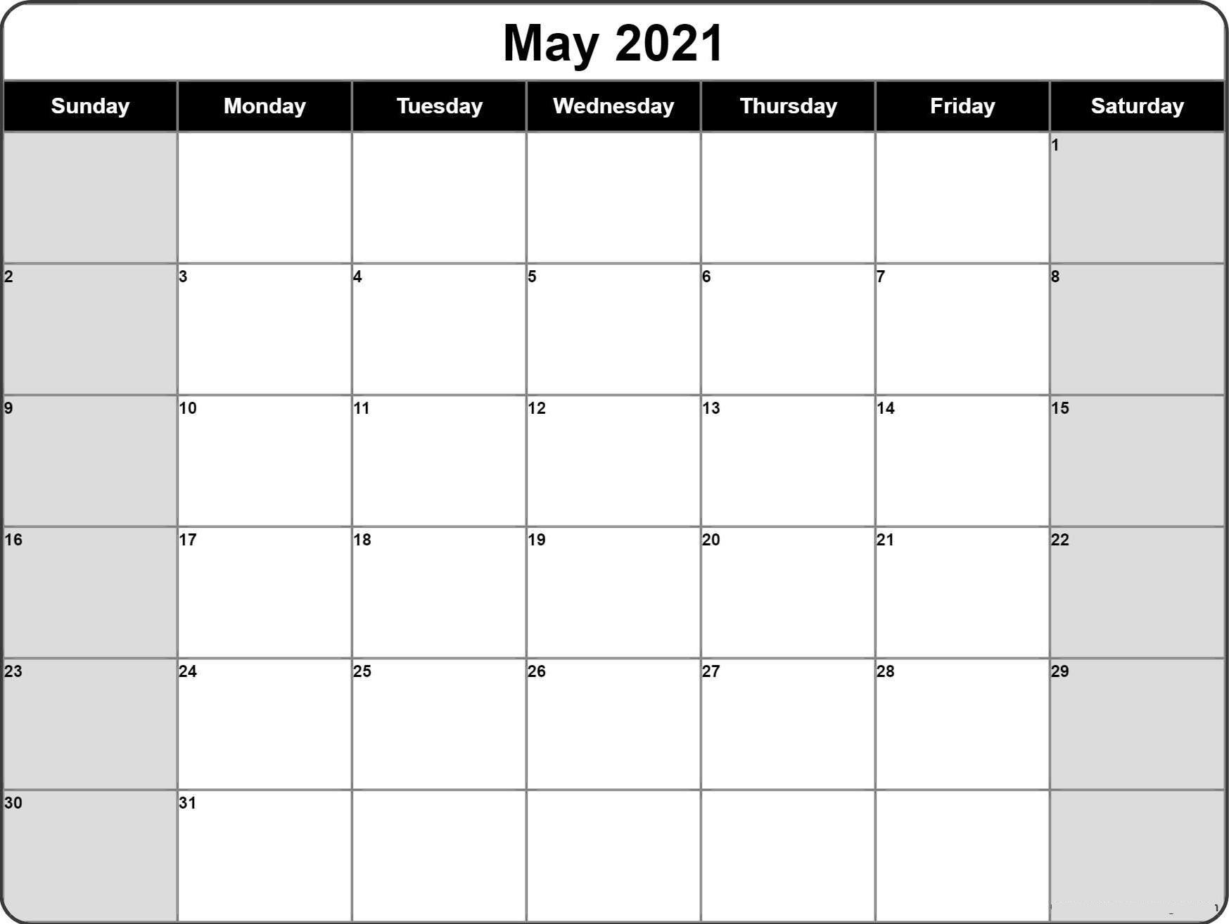 may 2021 blank calendar xls template