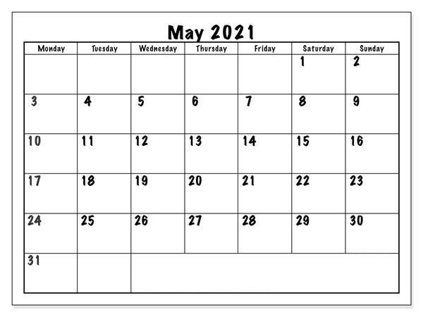 may 2021 calendar dates
