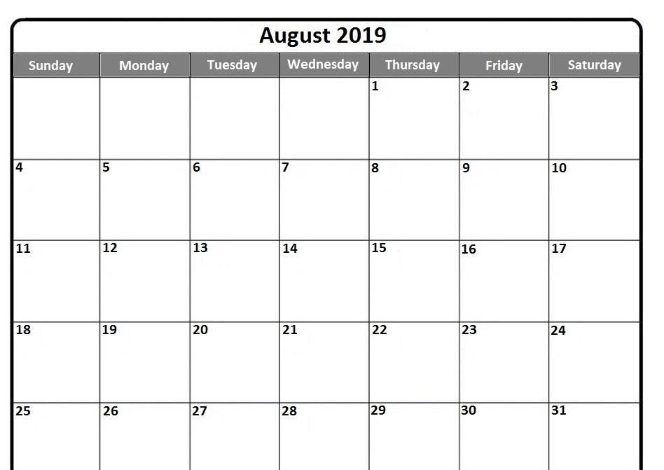August 2019 Calendar Free Printable