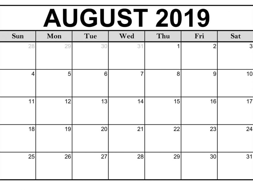graphic relating to Monthly Printable Calendar referred to as No cost* August Calendar Printable 2019 Template Phrase PDF Excel