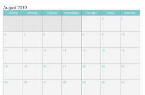 August 2019 Printable Calendar Word