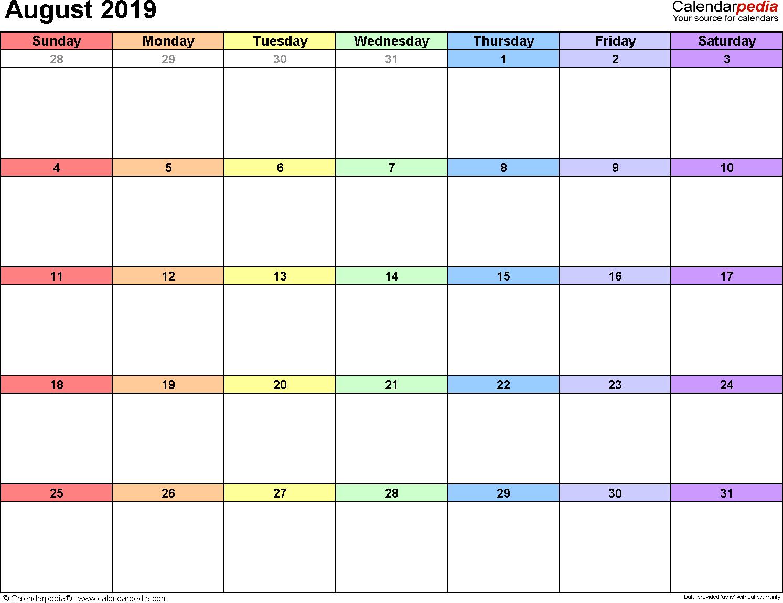 August 2019 calendar printable template excel