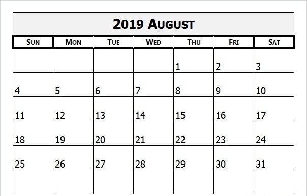 August Printable 2019 Calendar