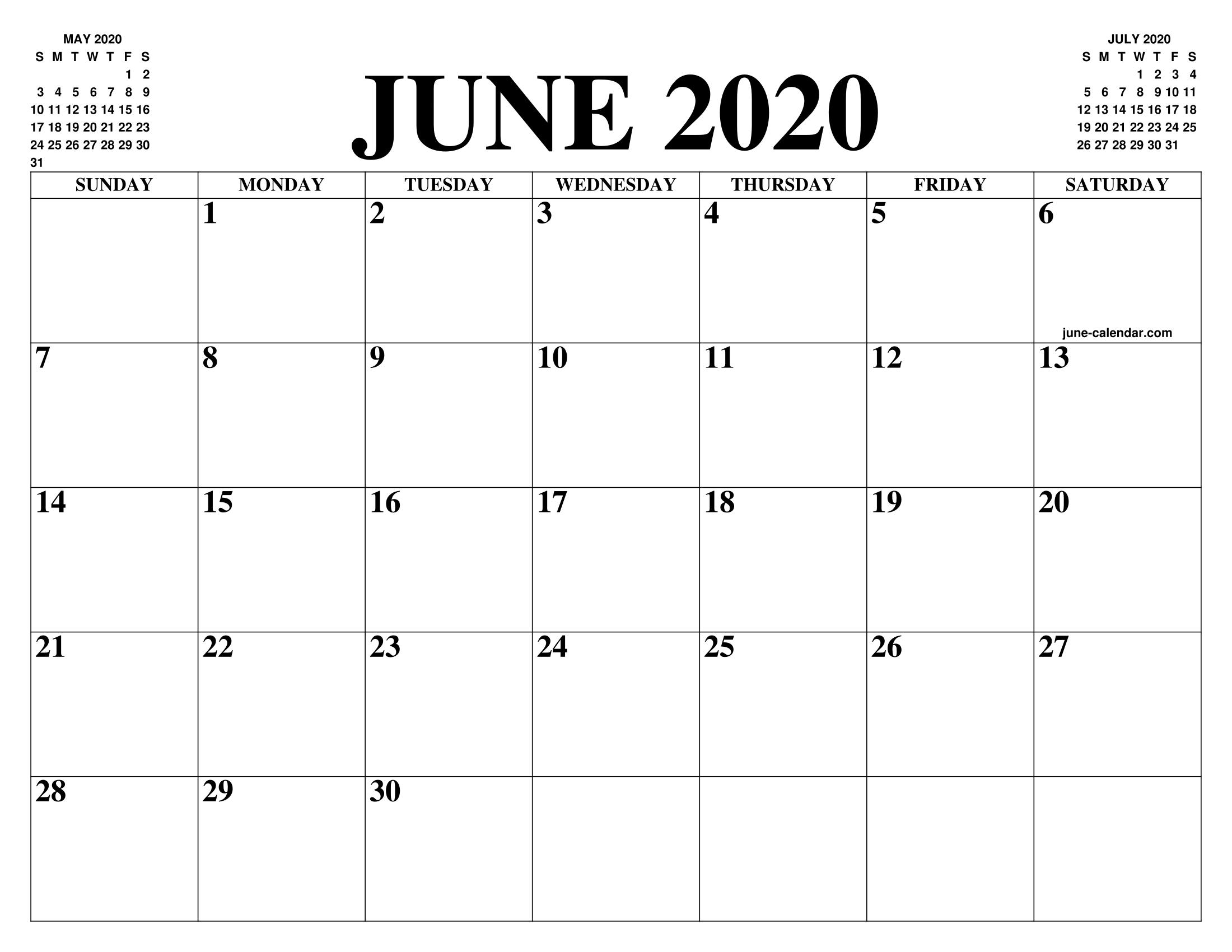 Get June 2020 Calendar Printable Blank Templates Fillable