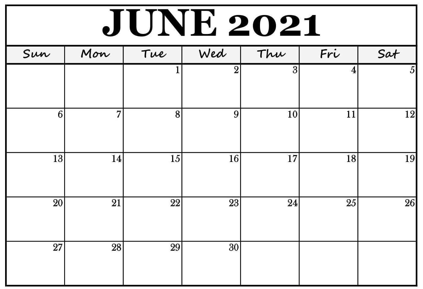 Blank June 2021 Calendar Editable PDF Sheets