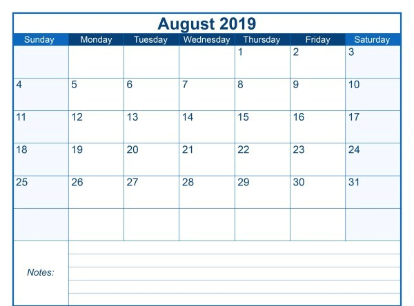 Blank Printable August Calendar 2019 with Notes