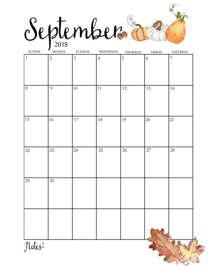 Blank Calendar 2019 September Cute