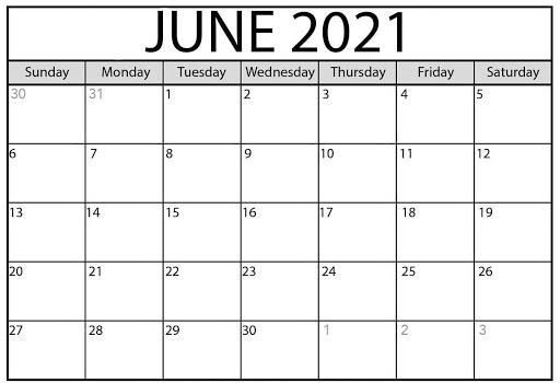 Editable Calendar For June 2021 Free