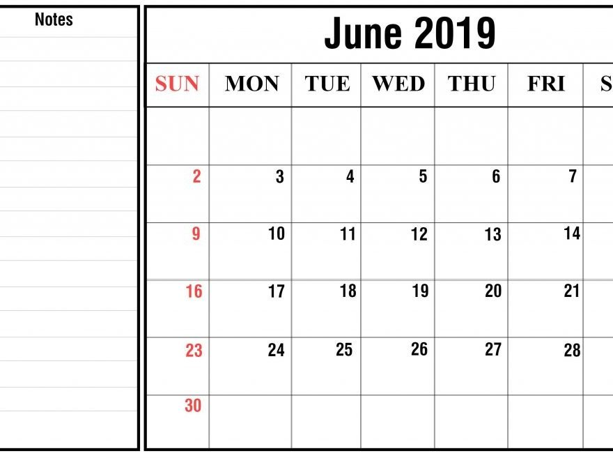 Editable June 2019 Calendar Fillable with Notes