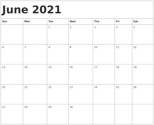 Editable June 2021 Calendar Template