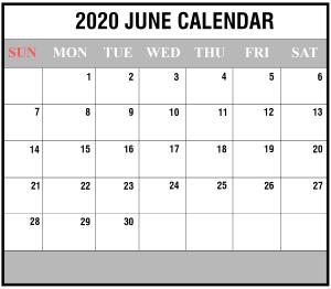 Editable June Calendar 2020 Template