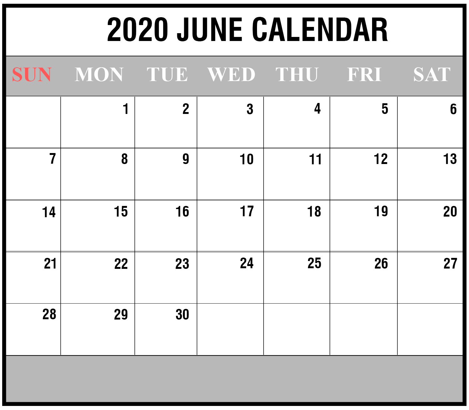 Editable June Calendar 2020 Template