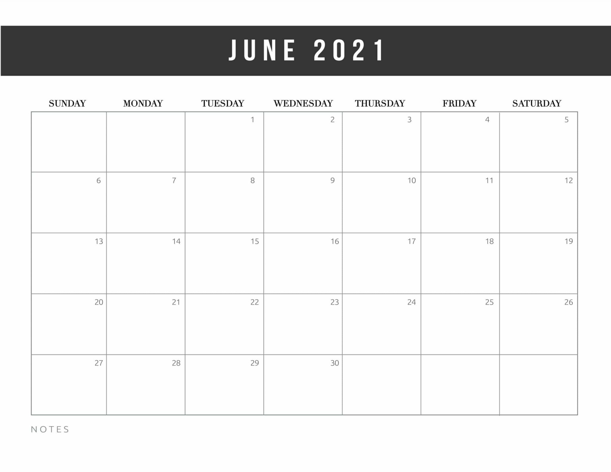 Editable June Calendar 2021