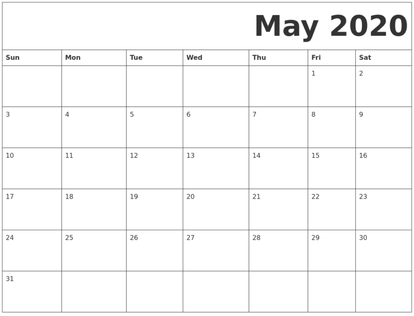 Fillable May 2020 Calendar Template