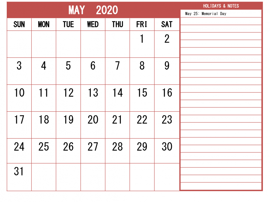 Fillable May 2020 Calendar with Large Space Blank