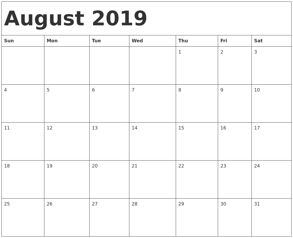 Free August 2019 Calendar Template
