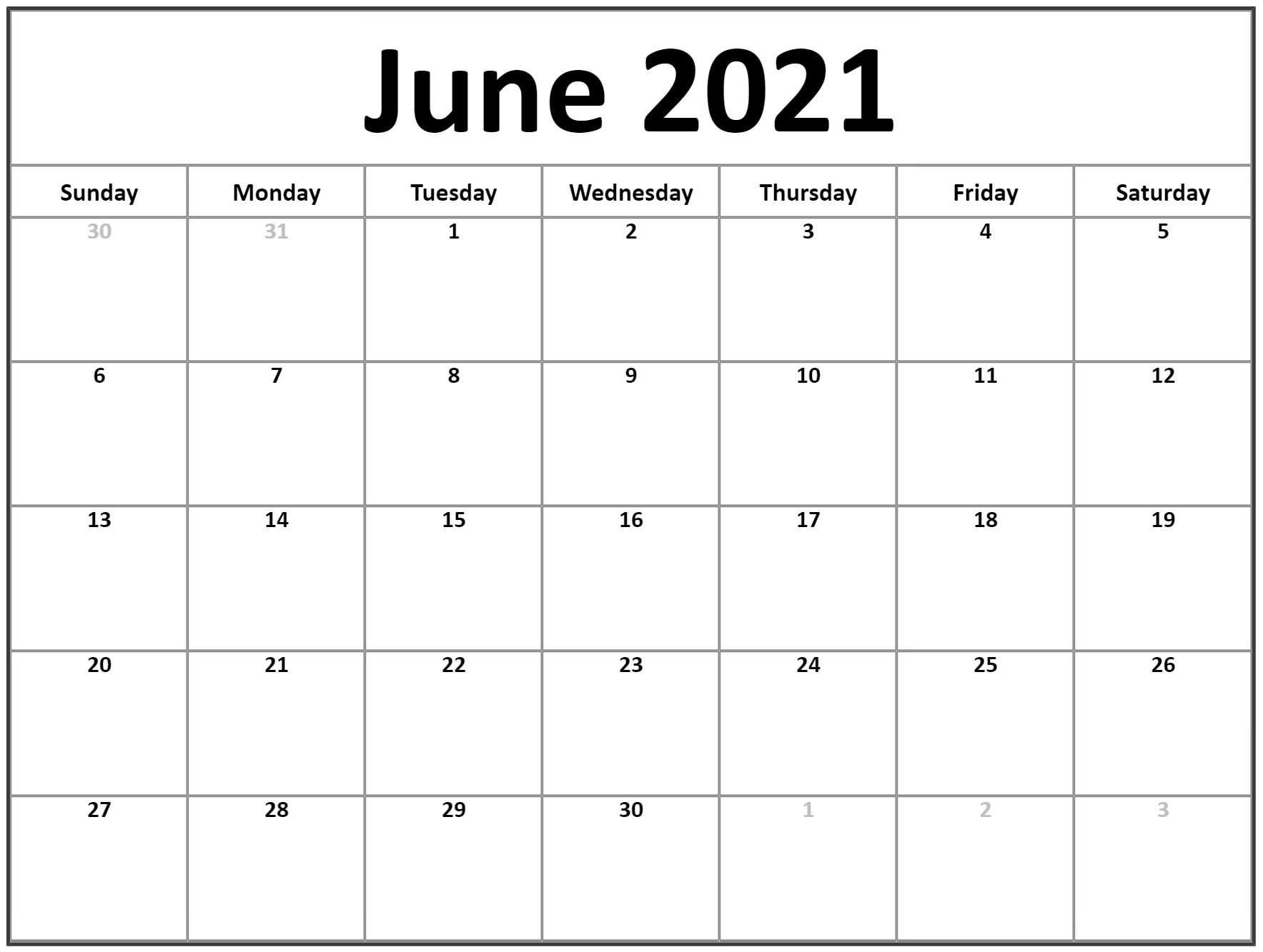 June 2021 Editable Calendar
