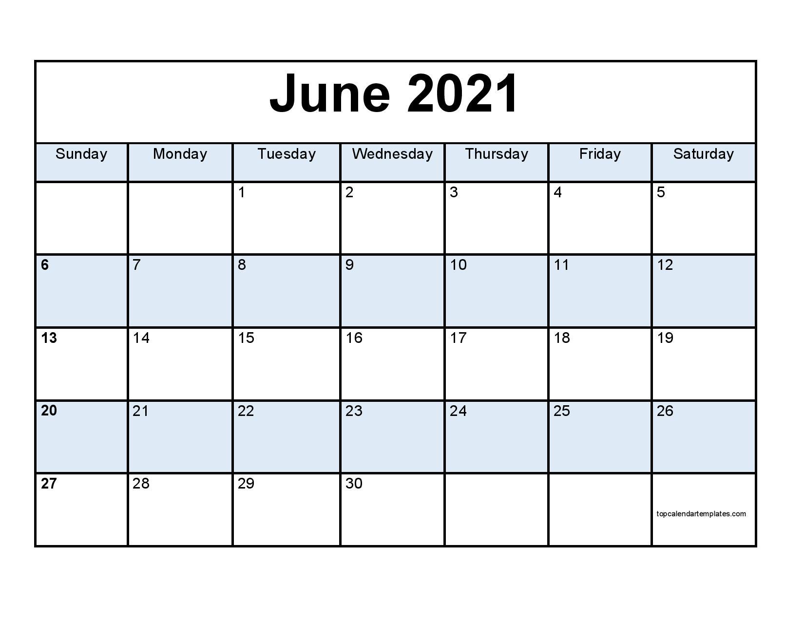 June 2021 Printable Calendar Editable Template