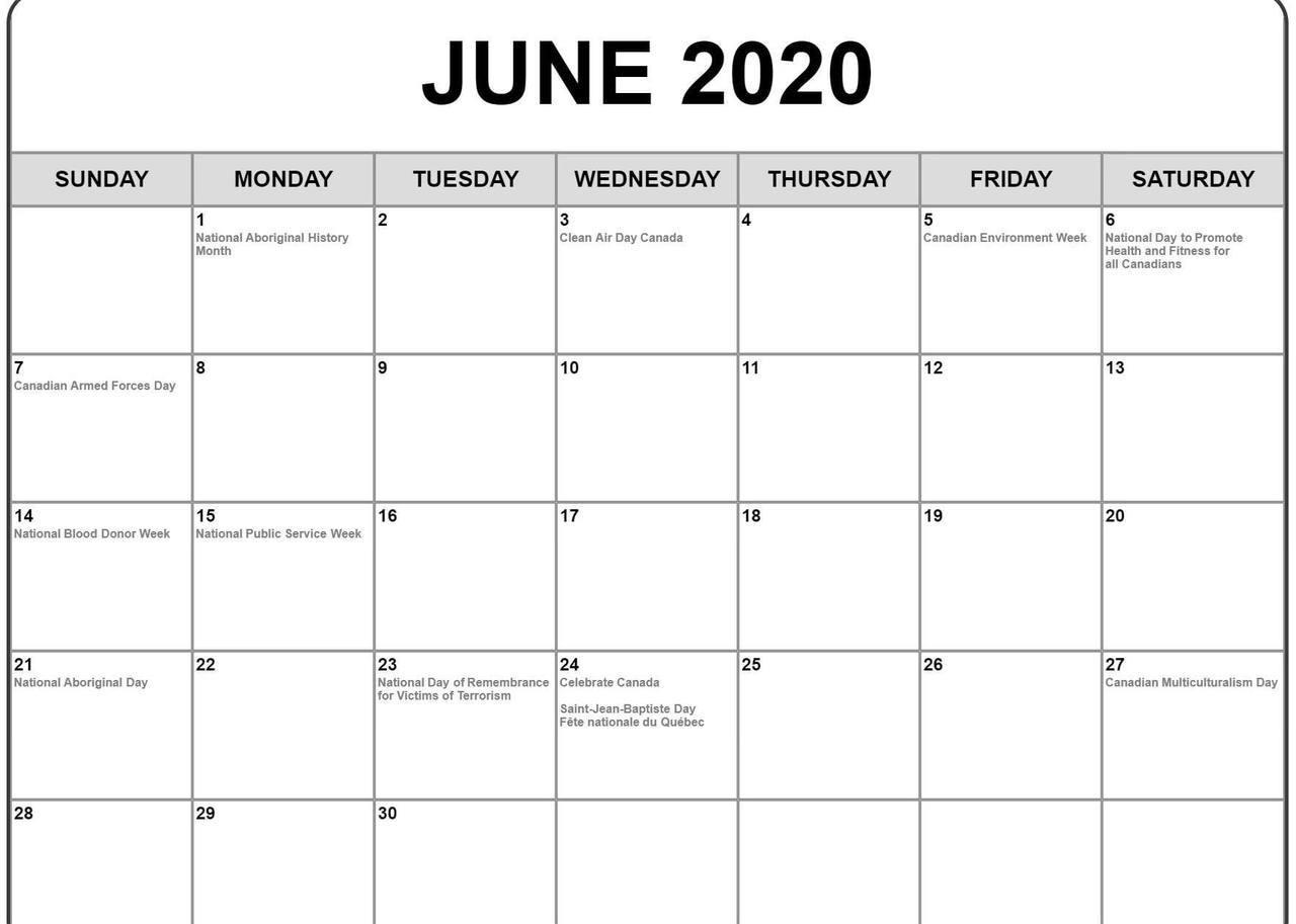 June Calendar 2020 Editable
