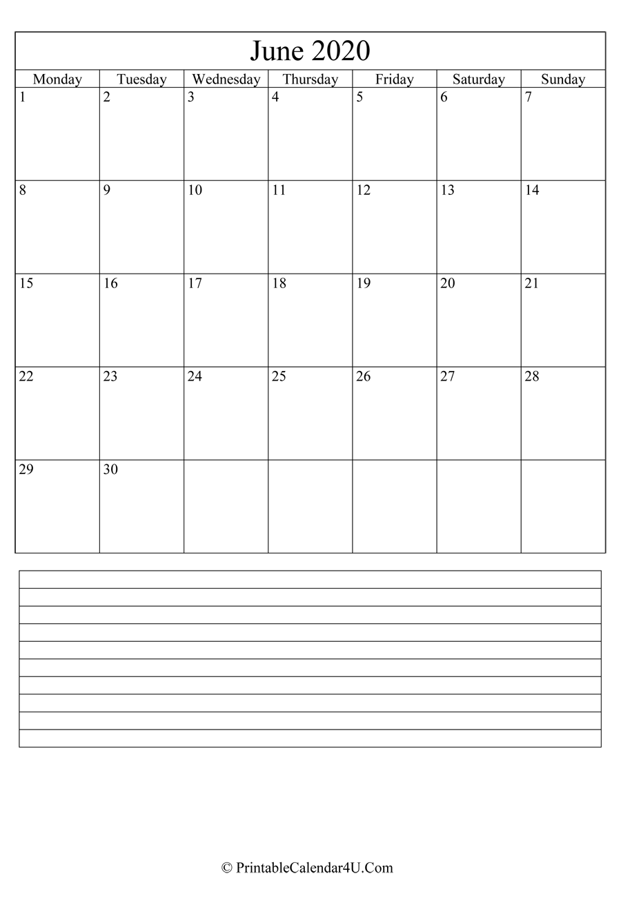 June Calendar 2020 Fillable Template