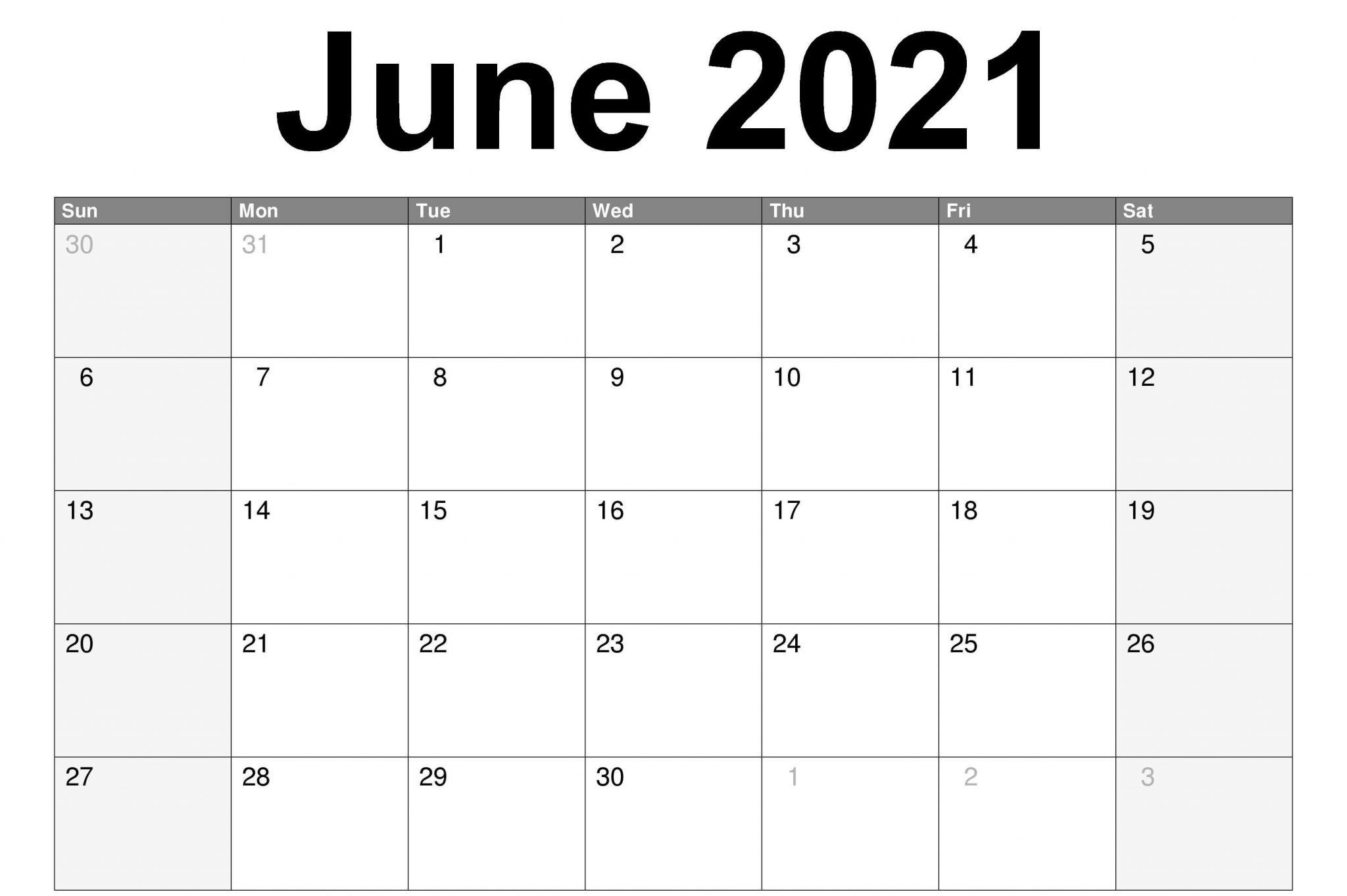 June Printable Calendar 2021 Page