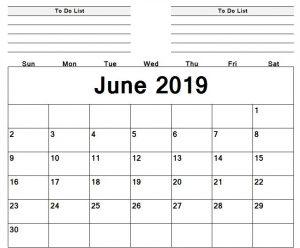 Print Editable Calendar June 2019 Sheet
