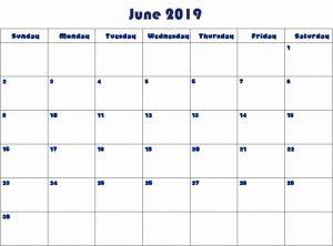 Print June 2019 Editable Calendar