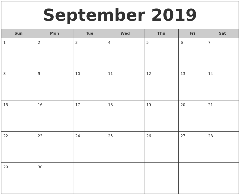 September 2019 Free Monthly Calendar
