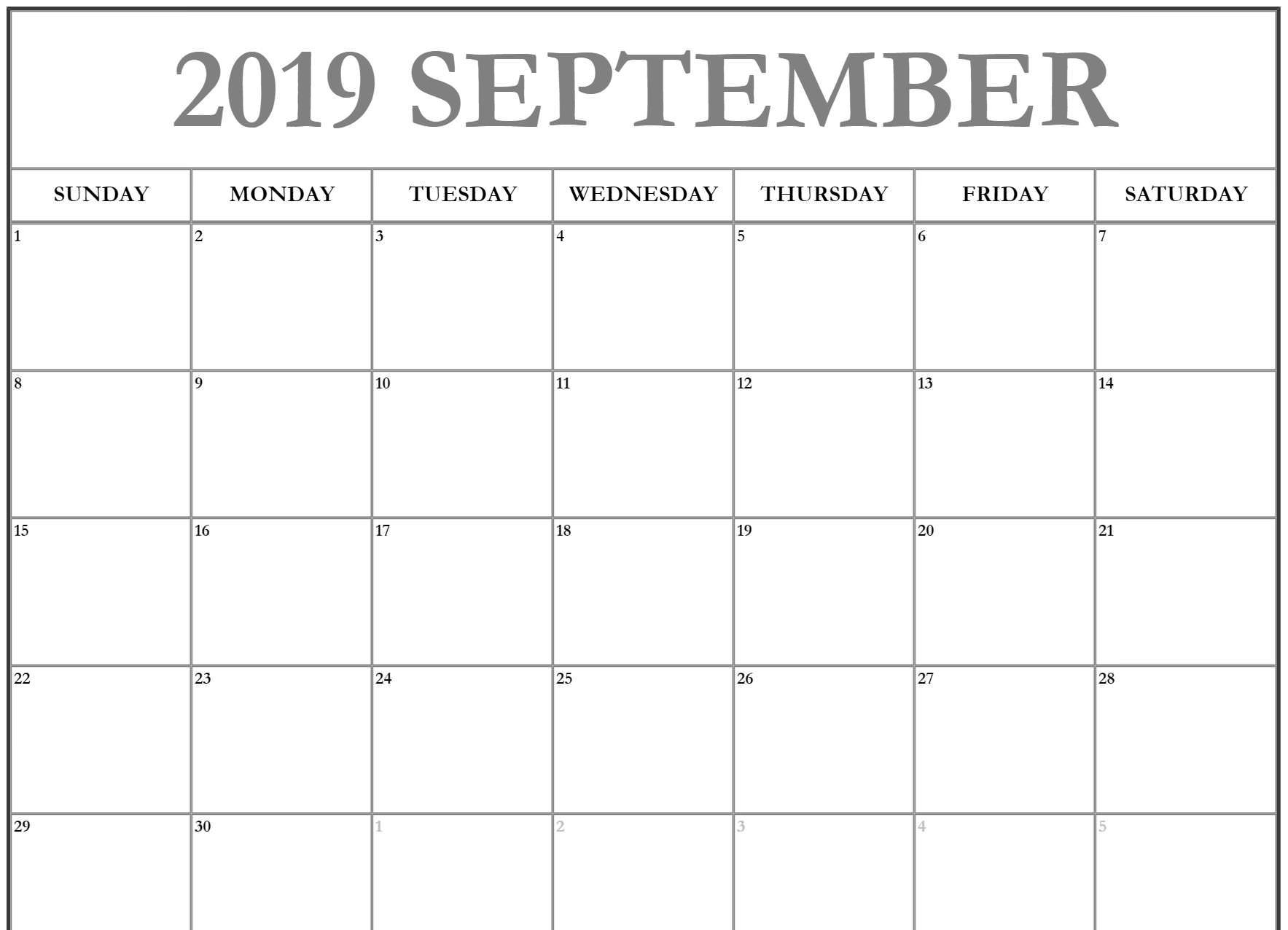 picture regarding Printable September Calendar titled Month to month Blank September Calendar 2019 Printable Template