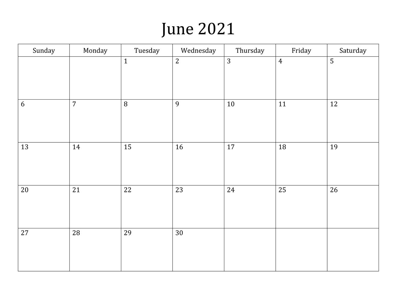 Simple June Calendar 2021 To Edit Download
