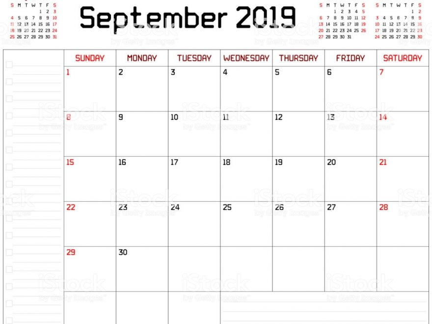 monthly planner calendar for September 2019