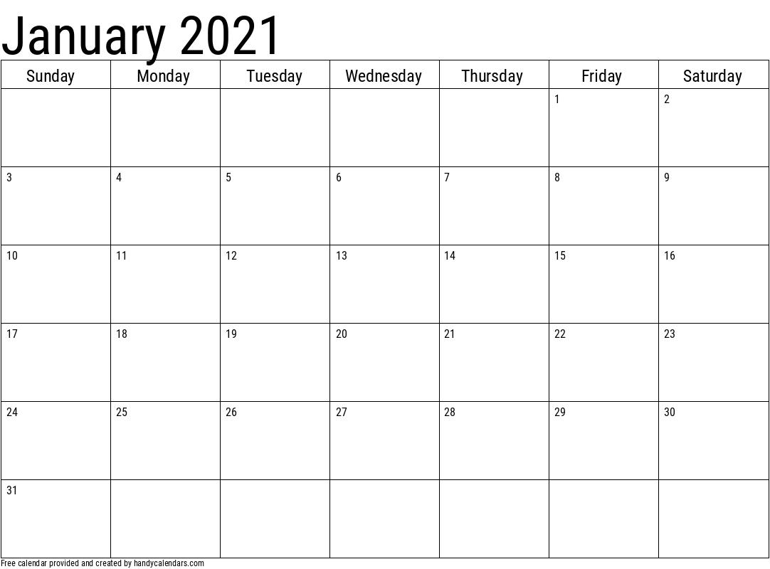 2021 Calendar Printable January