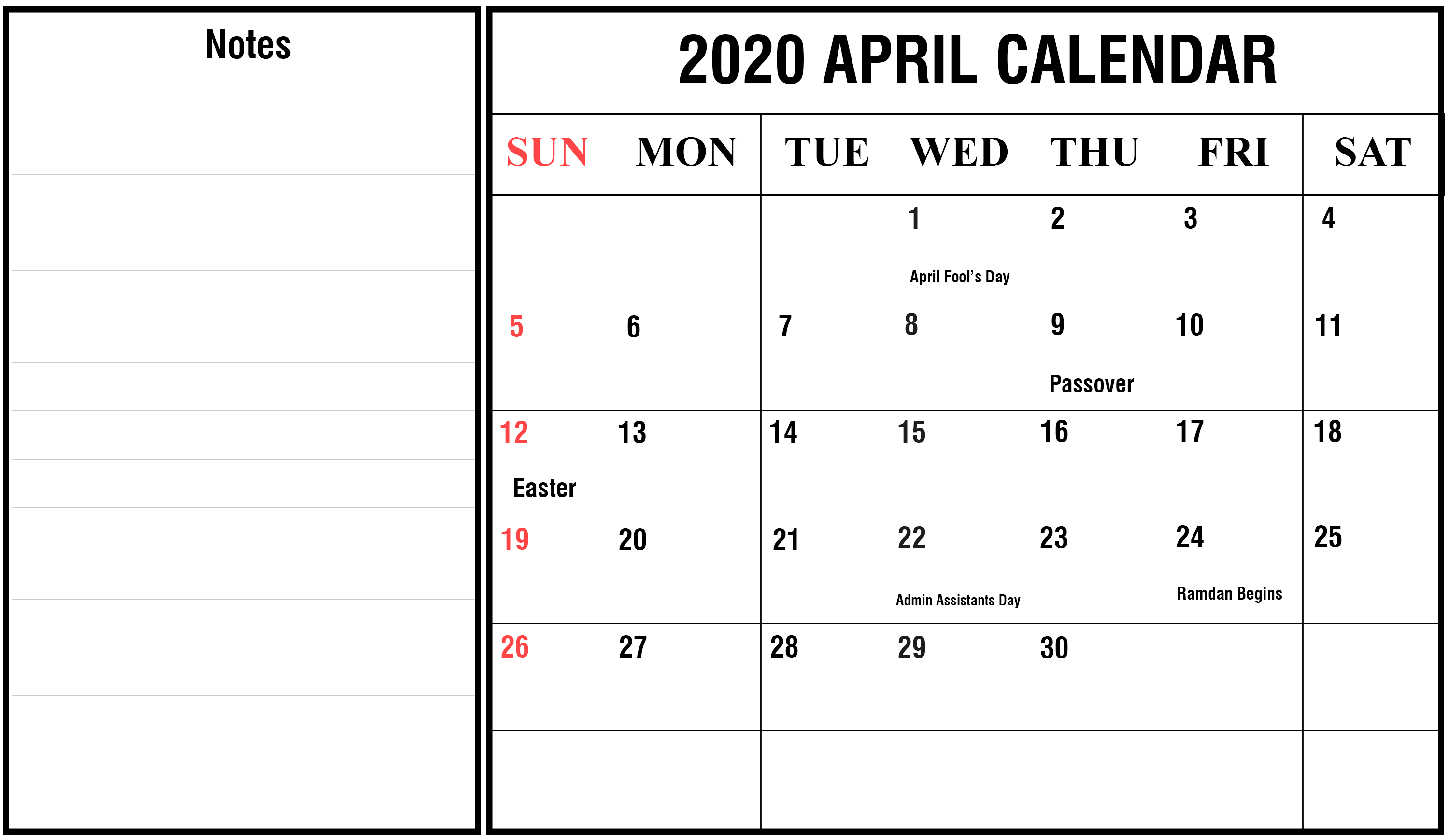 April 2020 Calendar Printable Holidays