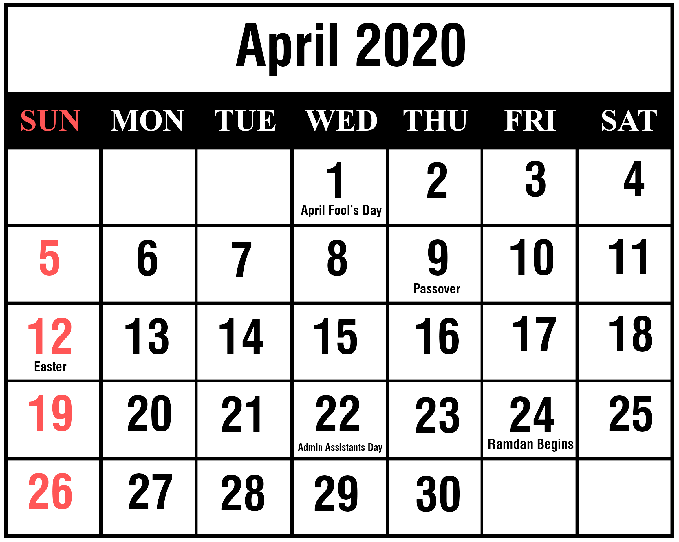 picture relating to Apr Calendar Printable referred to as Totally free Printable April Calendar 2020 Editable Template in just PDF