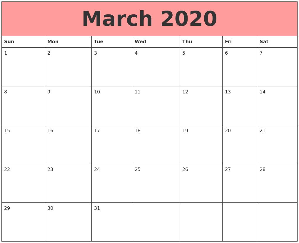 Blank 2020 March Calendar Template