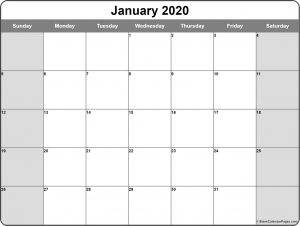 Printable Monthly January 2020 calendar