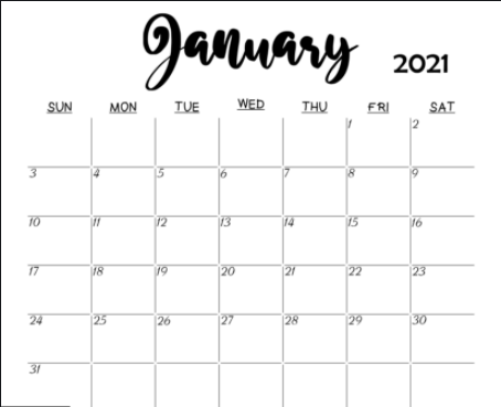 Blank January 2021 Calendar Printable