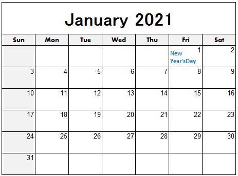 Blank January 2021 Calendar Template