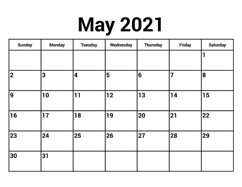 Blank May 2021 Printable Calendar Free