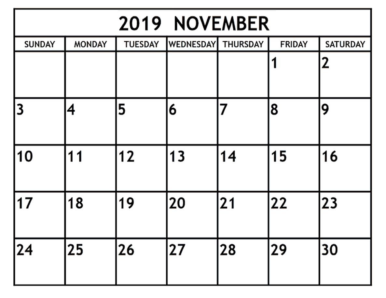 Blank November Calendar 2019 Template