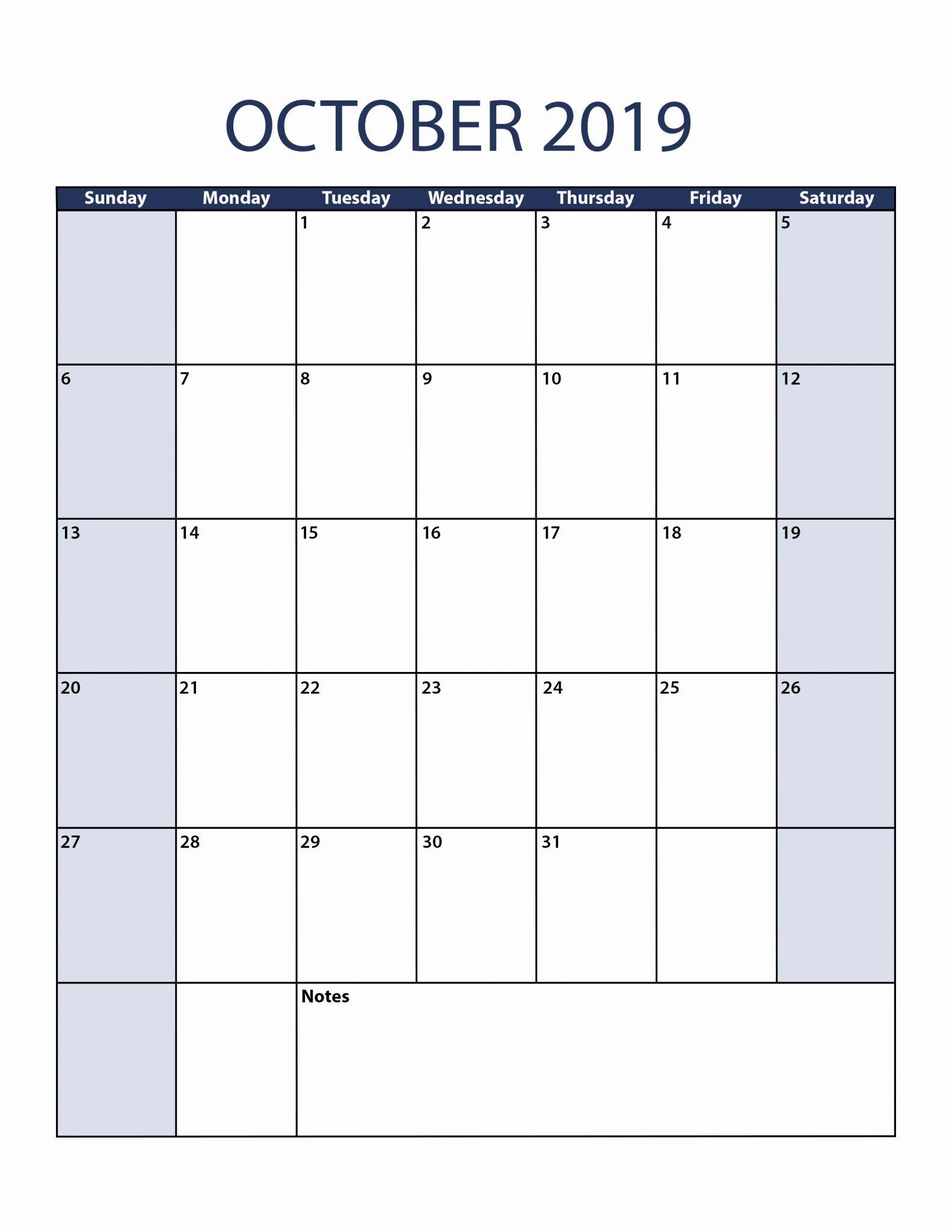 calendar 2019 october blank