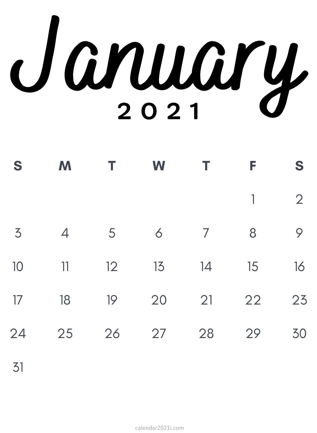 Download January 2021 Calendar