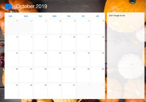 Editable October Calendar 2019 To-Do List